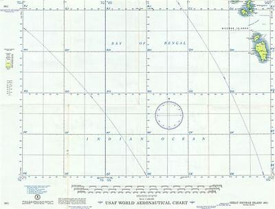 1954 U.S. Air Force Aeronautical Chart or Map of the Nicobar Islands, India
