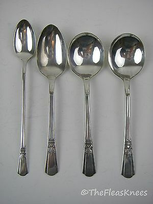 "Court Silver Plate ""Court"" 1939: 4 Spoons- Iced Tea, 2 Soup Spoons, Oval Spoon"