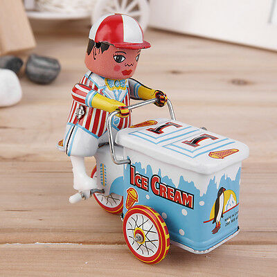 Vintage Metal Tin Ice Cream Car Clockwork Wind Up Tin Toy Collectible A#