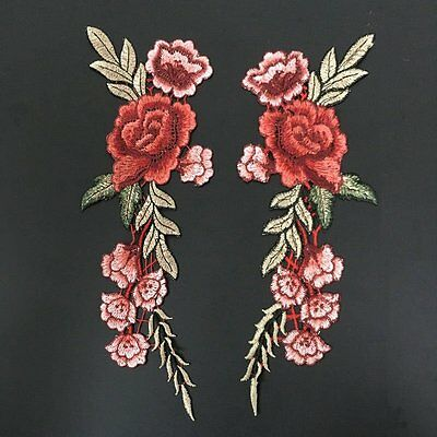 1Pair Red Embroidery Rose Flower Sew On Patch Badge Dress Jeans Applique Craft