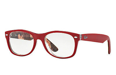 Authentic Ray Ban RB 5184 5406 Matte Red Inside Pattern Eyeglass Frame DEMO $233