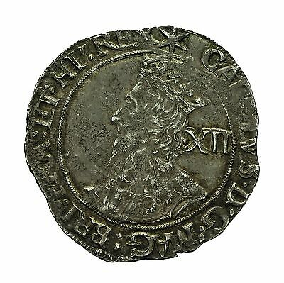 CHARLES I HAMMERED SILVER SHILLING  mm STAR  S2799