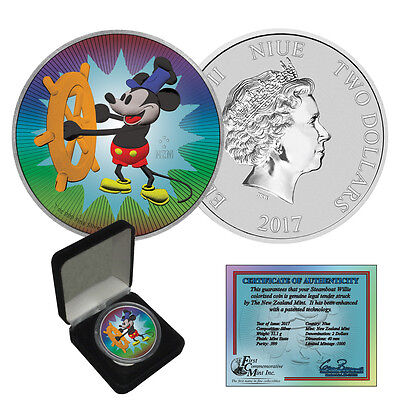 2017 Niue Color Enhanced Mickey Mouse Steamboat Willie 1 oz. Silver $2 Coin