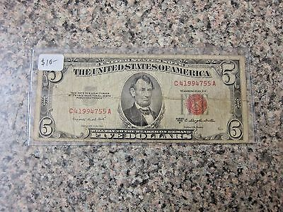 1953 B United States Five Dollar Note Red Seal
