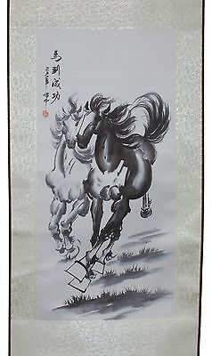 Black & White Horses Hanging Scroll Painting Home Decor Housewarming Gift