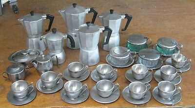 Large Lot of INOX Stainless Espresso Supplies - Pots Creamer Sugar Cups Saucers