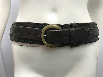Vintage Polo Ralph Lauren Belt Brown Distressed Leather Great Style Buckle 34 85