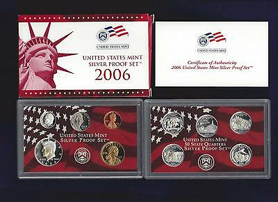 2006-S U.s. Mint Silver Proof Set...10 Coins...red & White Box...coa