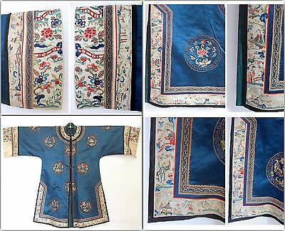 19th C CHINESE JIFU QING DYNASTY EMBROIDERED SILK ROBE TEXTILE 18 ROUNDELS