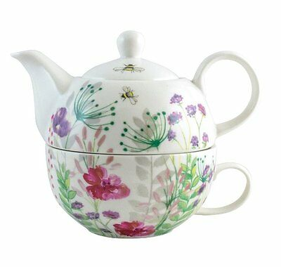 David Mason IN BLOOM TEA FOR ONE - Teapot + Cup Set FINE CHINA Wild Flowers