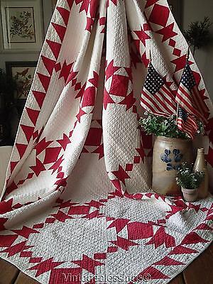 "Graphic ANTIQUE dated 1900 Turkey Red & White QUILT 71x68""Dense Quilting"