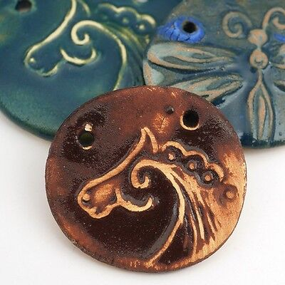 3 artist ceramic handmade blue and brown horse and dragonfly pendants