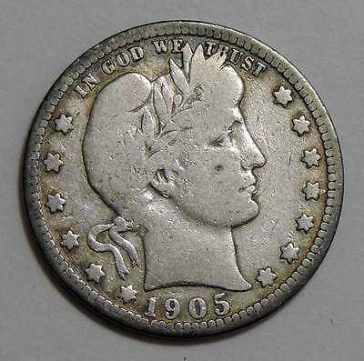 1905-S Barber Head Silver Quarter. Very Good. Below WHOLESALE!