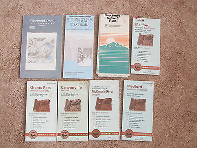 Lot of 8 Geological Survey Maps Oregon Deschutes, McKenzie, Canyonville, Medford