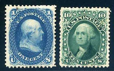 63P4, 68P4, shaved and perforated to resemble Scott 102 & 106, Mint
