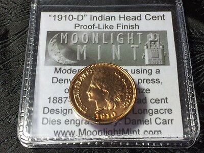 1910-D Dan Carr Indian Cent Proof-Like O/S Fantasy Issue original flip & COA