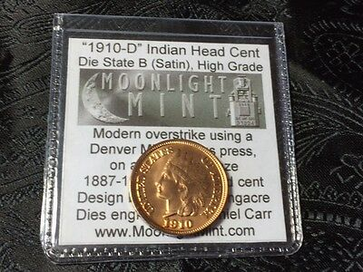 "1910-D Dan Carr Indian Head Cent High Grade Die ""B"" Satin O/S Fantasy  with COA"