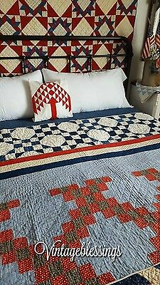"Fantastic Color! ANTIQUE c1880 Lancaster Blue Irish Chain QUILT 76"" x 76"""