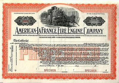 FINE FULL SZ COLOR REPRINT ONLY KNOWN AMERICAN LAFRANCE STOCK w ANCIENT FIRE ENG