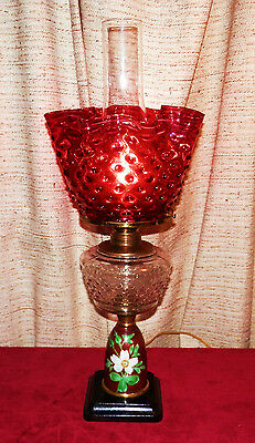 ANTIQUE CRANBERRY HANDPAINTED HOBNAIL OIL LAMP with CAST IRON BASE