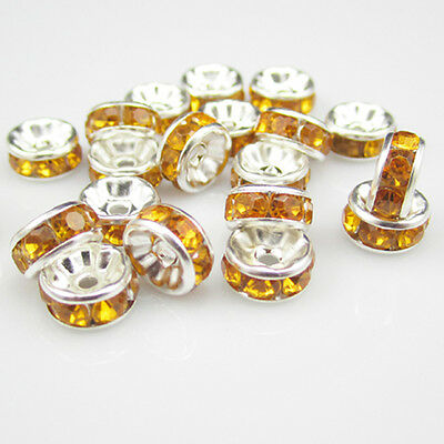 Free shipping NEW for jewelry 20pcs 8MM Plated silver crystal spacer beads BZG14