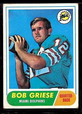 1968 Topps Football Miami Dolphins Bob Griese Rookie Card Rc Hof Purdue #196