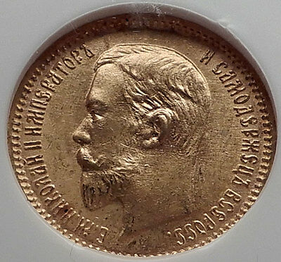 1903 NICHOLAS II RUSSIAN Czar 5 Roubles Gold Coin of Russia NGC MS 66  i60332