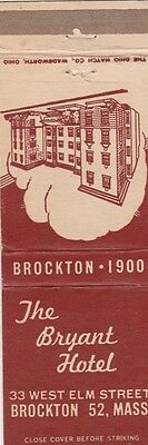 Vintage Hotel Matchbook Cover. The Bryant Hotel. Brockton, Ma.