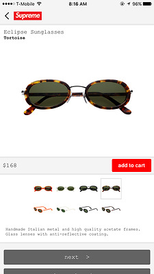 2017 SS17 Supreme Eclipse Sunglasses Tortoise New with box logo cdg receipt DS