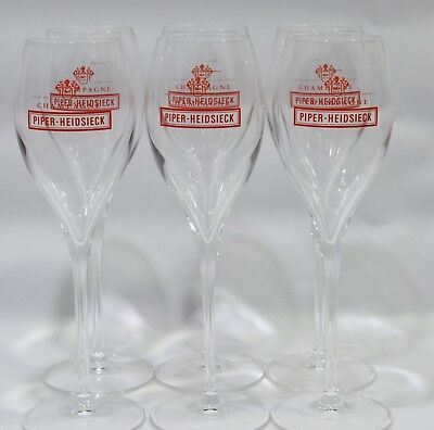 PIPER HEIDSIECK CHAMPAGNE 6 Verres coupes flutes 17 cl IMPRESSION ROUGE NEUF