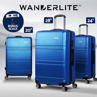 Wanderlite 3pc Luggage Sets Suitcase Trolley Set TSA Travel Hard Case Free Scale