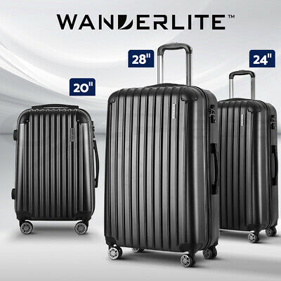 Wanderlite Suitcase Luggage Sets 3pc Set Travel Hard Case Lightweight Black