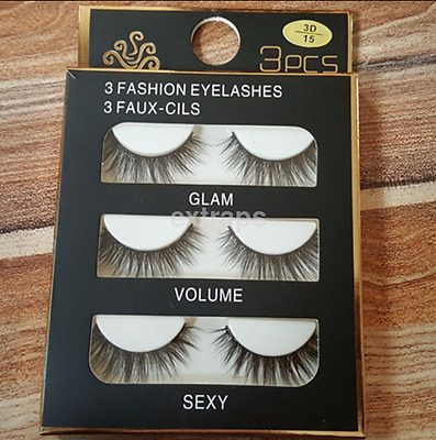 NEW 3pcs Luxurious Real Mink Elegant Cross Thick False Eyelashes 3D Eye Lashes