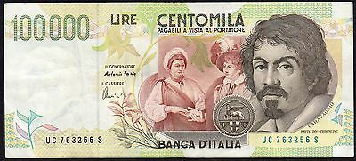 1994  Italy 100,000 Lire Banknote * Uc 763256 S * Vf * P-117 *