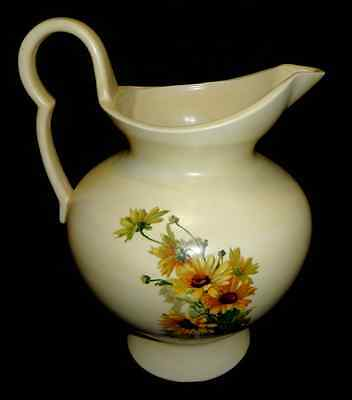 Vintage Antique Yellow Pitcher For Wash Basin Hand Painted Flowers Sunflowers