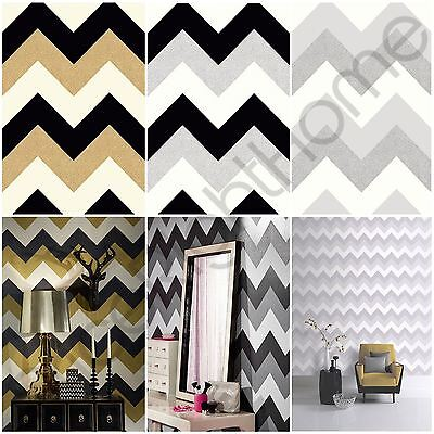 Glitterati Chevron Wallpaper Arthouse Feature Wall - Black Gold Platinum Silver