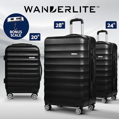 Wanderlite 3pc Luggage Sets Suitcase Set TSA Black Hard Case Lightweight