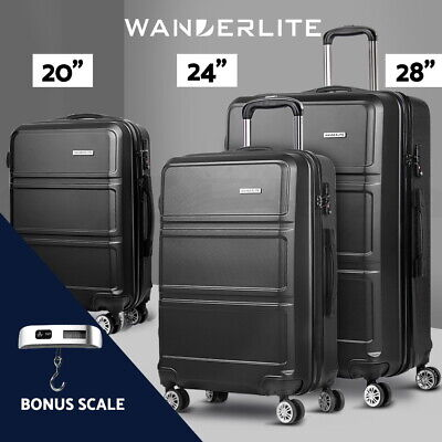 Wanderlite 3pc Luggage Sets Suitcase Trolley Set TSA Hard Case Lightweight Black