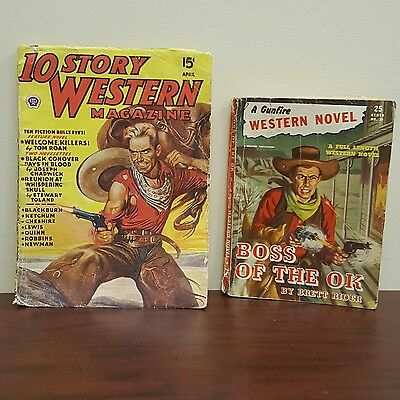 Lot 2 Collectible Western Reads -10 Story Magazine and 1 Gunfire Novel Boss OK
