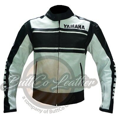 YAMAHA 5241 Black Leather Biker Jacket mens Motor cycle Motor bike Biker Coat