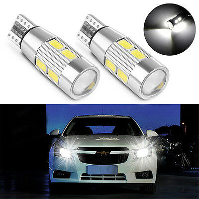 White 2X T10 194 W5W 5630 LED 10 SMD CANBUS ERROR FREE Car Side Wedge Light Bulb