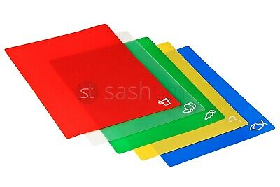 New 5 Colour Coded Antibacterial Flexible Cutting/Chopping Boards / Mats Kitchen