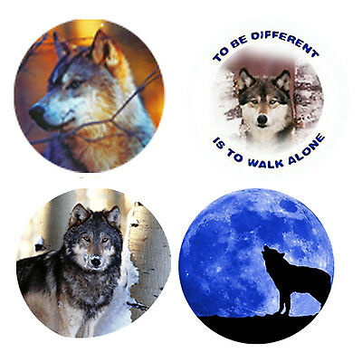 Wolf Magnets-B:  4 Way-Cool Wolves for your Fridge or Collection-A Great Gift