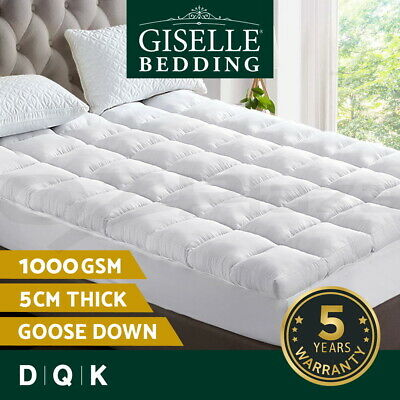 Giselle Bedding 1000GSM Mattress Topper Pillowtop Goose Feather Down Pillow Top