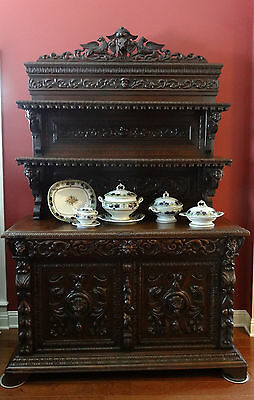 Antique French Carved Hunt Cabinet BOOKCASE SIDEBOARD HOUND Renaissance Buffet