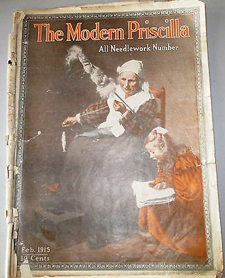 Vintage Modern Priscilla Feb 1915 All Needlework Number Crochet Tatting Darning