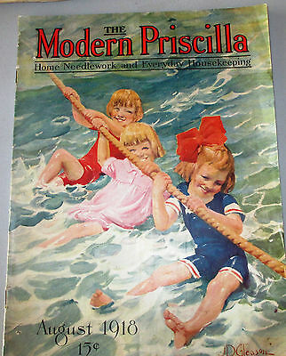 Vintage Modern Priscilla Aug 1918 Knitting Crochet Netting Embroidery Fashions