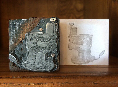 Antique Barber Chair  Kochs Wood Collectable Printing Block