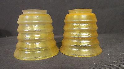 Pair 1930s ART DECO Yellow Glass Lamp Shades STEPPED DESIGN