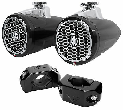 """Pair Rockford Fosgate PM2652W-B 6.5"""" 340w Marine Wakeboard Tower Speakers+Clamps"""